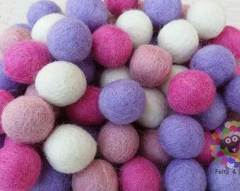 2 cm Felt Balls. Wool Pom pom Nursery Garland Decoration 100 % Wool - DIY Craft