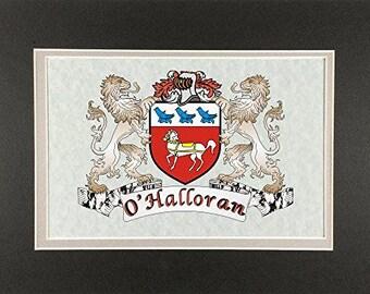 "O'Halloran Irish Coat of Arms Print - Frameable 9"" x 12"""