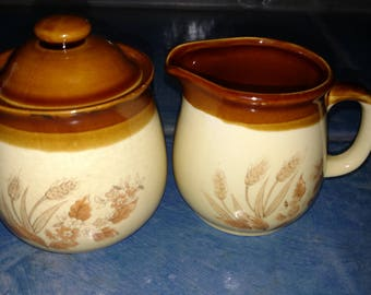 Vintage Stoneware Cream And Sugar Set