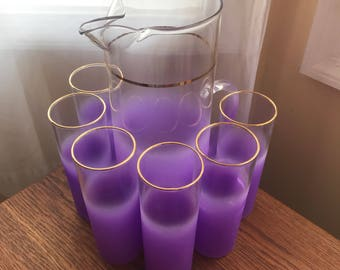 Vintage 1950's Blendo Purple Frosted Pitcher, Six Highball Glasses and Two Cruets