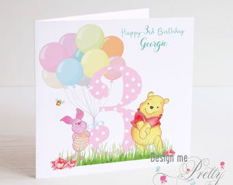 Winnie the Pooh and Piglet Birthday Card
