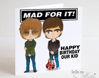 Liam and Noel Gallagher Birthday Card - Oasis