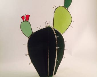 Prickly Pear- stained glass Cactus sculpture garden art boho indoor plant