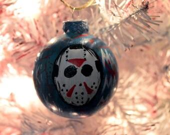 Jason Voorhees ornament // Horror ornaments // Horror decor // Horror Christmas // Blood splatter // Jason Voorhees