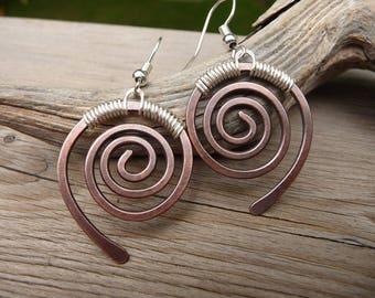 Copper Earrings, Hand Made Jewelry, Copper Dangle Earrings, Swirl Earrings, Rustic Earrings, Mixed Metal Earrings, Spiral Earrings, Silver