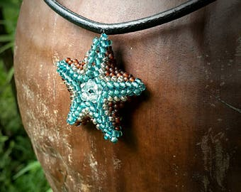 Seed beads beaded starfish necklace with leather cord. 3D