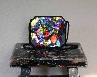 Never Used 1980's Multicolor Sequined and Beaded Small Purse
