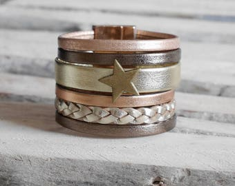 SALE gold leather cuff, Gold Bracelet pink and bronze with bronze star (BR117) passing