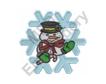 Snowman - Machine Embroidery Design, Snowflake Snowman