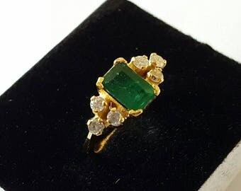 Emerald Ring for Women 22k Gold Ring Women Emerald Ring Diamond Studded VS Quality Natural Emerald Ring Emerald Gold Ring Engagement Rings