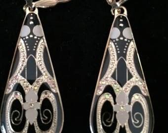Art Deco Design, Black, Gold Dangle Earrings,Teardrop, Handmade, Statement Earrings, 1.75 Inch Drop Earrings, Gift Wrapped, Vintage Design