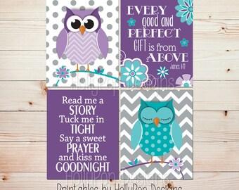 Printable owl art Digital download Owl nursery decor Purple turquoise nursery Read me a story Girls room art Baby girl decor Girl art #1312