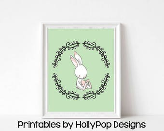 Printable bunny art Nursery art printable Printable wall decor Baby girl nursery art Digital download Green nursery decor Cute bunny #1844