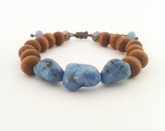 Wood beaded bracelet, Howlite bracelet, Gemstone bracelet, Wooden bracelet, Made in Greece, Macrame bracelet
