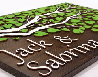 Alternative Wedding guest book tree, singing,3D wood, merried 04