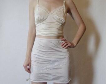 70s White Lace Slip XS