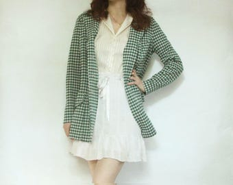 70s Handmade Green Houndstooth Coat S M