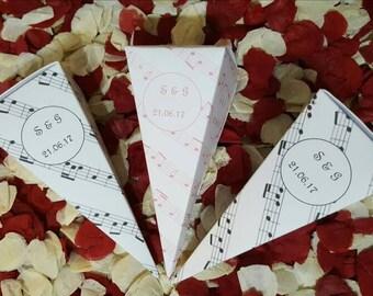 Personalised musical Wedding Confetti Cones