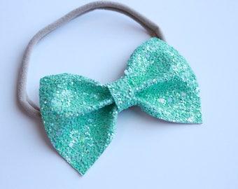 BELLA Bow- Mint Sparkle