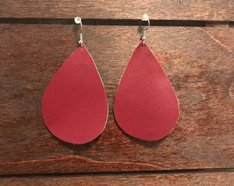 Cranberry Faux Leather Earrings