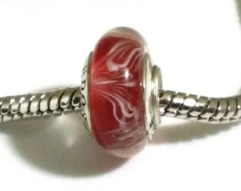 Red with White Lines Murano Pandora .925 ALE Glass Bead