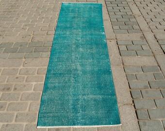 Turkish Overdyed Isparta Carpet Rug Blue 240x73