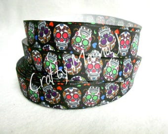 "Sugar Skull 7/8"" Grosgrain Ribbon by the yard. Choose between 3/5/10 yards. Day of the Dead"