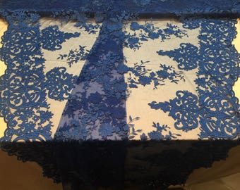 Lace Fabric - Embroidered 2 way Stretch Floral Royal Blue For Dress By The Yard