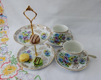 Gemma - Vintage Shabby Chic Glo-White Ironstone Tea for Two Set with Cakestand