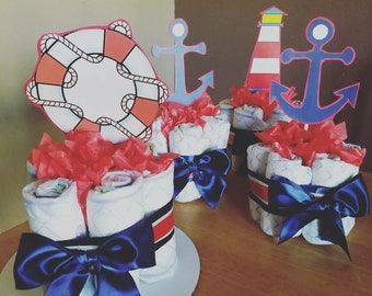 Diaper Centerpieces (Nautical)