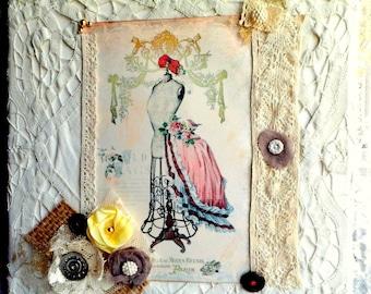 "Romantic painting ""Paris newspaper"" retro chic, shabby decoration chic, lace, fashion Paris table table"