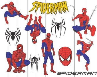 Spiderman Svg Clipart, Spiderman dxf, Spiderman cutfiles, Marvel Hero svg, Spiderman PNG, Superhero clipart, hero svg, Spiderman Clip art