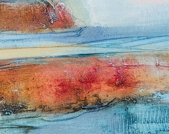 Abstract Painting, Original Oil on Canvas, Orange, Red, Blue, Modern Fine Art, Modern Contemporary Art