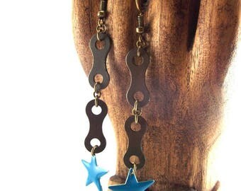 Earrings - bike chain links