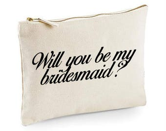 Will you be my bridesmaid cosmetic make up bag