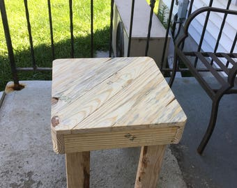 Reclaimed wood patio side table