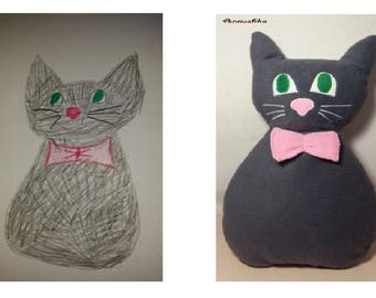 Custom toy gift Custom plush toy Cat toy Memory toy from kids drawing Personalized stuffed animal Custom stuffed toy Custom stuffed animal