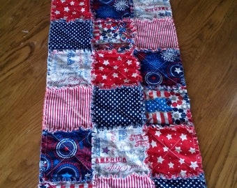 Quilted table runner - Patriotic - handmade - RED, WHITE & BLUE!