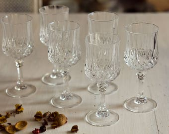 Set of 6 water glasses footed Crystal from the 1970s