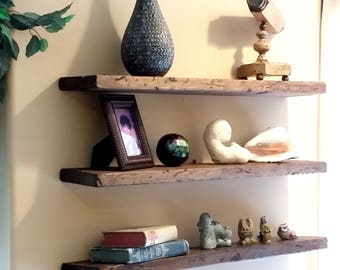 Easy Mount Reclaimed Wood Shelves Floating Shelves Floating Shelf Floating Wood Shelves Rustic Shelves reused Solid Wood Wall Decor shelving