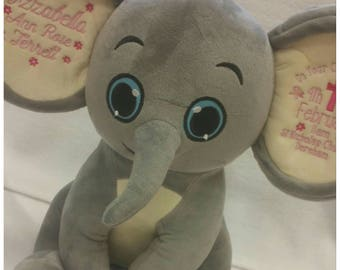 Personalised Teddy Bear, Personalised Keepsake, Personalised elephant, Baby Gift, Christening Gift, Toddler Gift, New Born Gift,