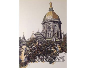 Notre Dame Fighting Irish LIMITED EDITION Pen and Ink and Watercolor Art Print Illustration by John Stoeckley