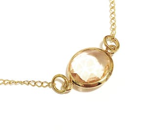 Minimalist Rose Crystal Necklace. Goldfilled