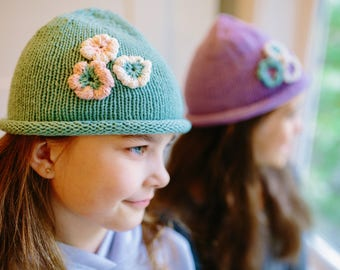 Hand Knit Spring Blossom Cotton Rolled Rim Beanie for infant toddlers