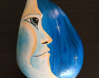 Painted, rock, stone, moon, man on the moon, art, paper weight, home decor, decoration, painting, original