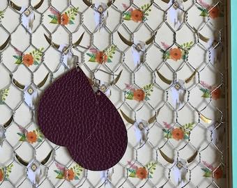 maroon earrings, faux leather earrings, teardrop earrings, leather earrings