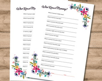 10 x Printed Floral A4 Who Knows Mummy Game For Baby Shower