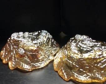 Amber carnival glass candy dishes