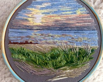 Hand Embroidered Sunset In Vintage Hoop