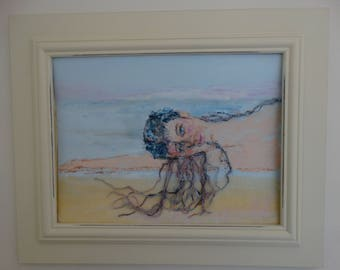 Girl by the Sea - Painting and Yarn